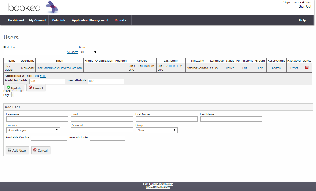 modify credits inside Booked Scheduler